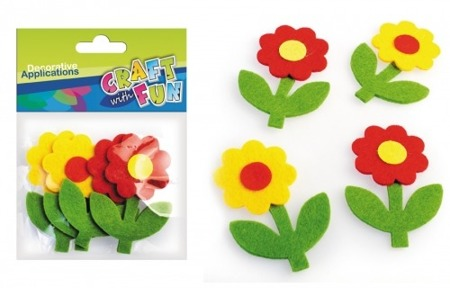 Kwiaty filcowe GERBERA 4 szt. Craft with Fun