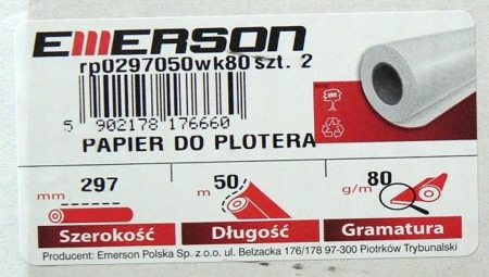 Papier do plotera 297 mm x 50 m 80g EMERSON