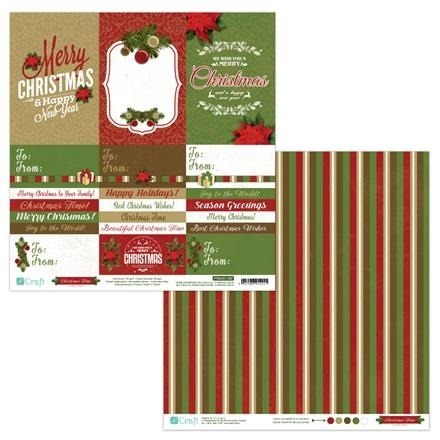 Papier do scrapbookingu dwustronny 30,5 x 30,5 cm CHRISTMAS TIME 07 dpCraft